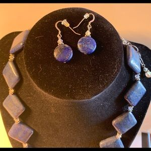 Handmade lapis and Swarovski Crystals jewelry set
